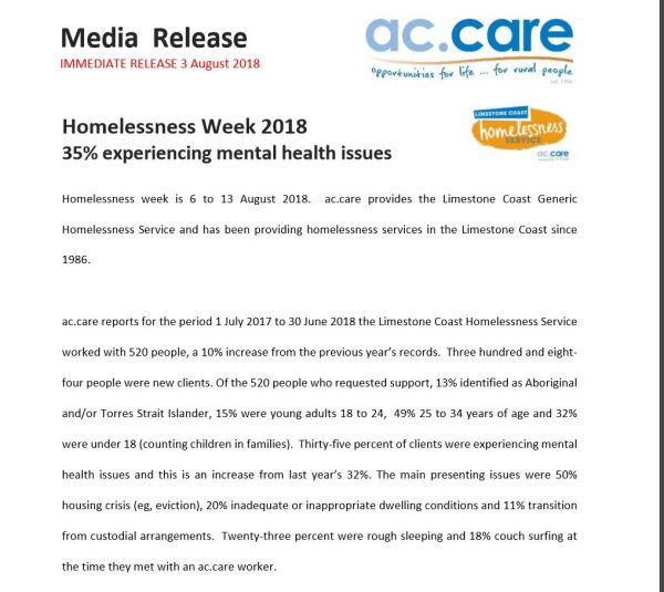 media release homelessness week 2018 Limestone Coast