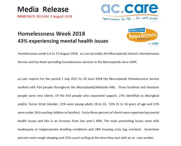media release homelessness week 2018 Murraylands Adelaide Hills
