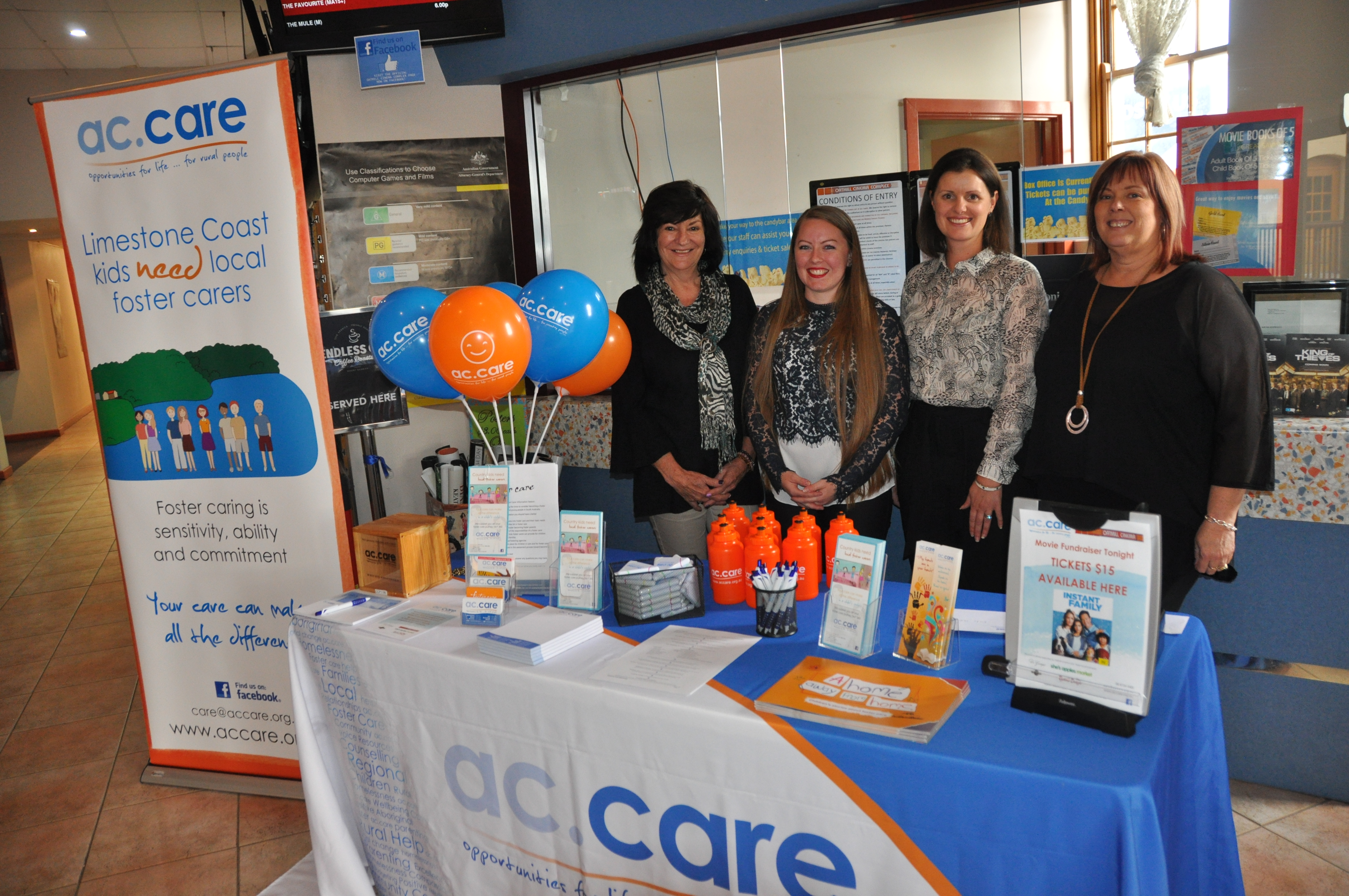 ac.care staff Lisa Fry, Dani Atkinson, Leticia Gosse and Cindy Climas with the foster care information stand at the Oatmill Cinema