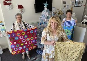 Pine Tree Quilters Xmas sacks donation Kaye, Becc and Ohna Greene